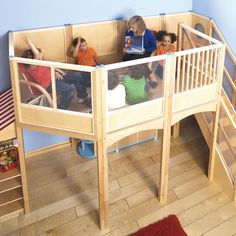 Let your kids have even more fun playing at the market with the Market Loft Extension Kit by Guidecraft. This sturdy birch plywood extension will allow for a more spacious play area for your kids to play in that will make for a more comfortable and enjoya Indoor Forts, Kids Indoor Playhouse, Kids Indoor Playground, Build A Playhouse, Indoor Playset, Indoor Playroom, Deco Gamer, Kids Market, Diy Zimmer