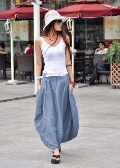 Greyblue Skirt Linen Bud Long Maxi Skirt  by Sophiaclothing, $59.99