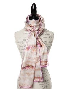 "SILK PRINT SCARVES FOR WOMEN IN LUXURIOUS SATIN SILK IN MARSHMALLOW.   GŌBLE luxurious rectangular silk scarves elevate any outfit with the grace and artistry of trompe l'oeil. FABRIC & COMPOSITION 100% Satin Silk 20"" X 70"" (50cm x 178cm) GOBLE.CA"