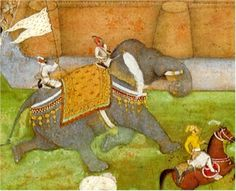"Mughal art. Detail from ""The Surrender of Qandahar"" from the Padshahnama. C. 1640's."