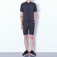 f79b9709fe5 Men s Striped Jumpsuits Casual slim fit Cargo Pants 2017 New Arrival Black  Blue cool summer short
