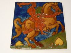 STUNNING & RARE CARTER & CO TUBE-LINED TILE (CARTERS TILES - POOLE POTTERY)