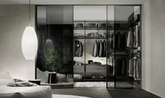 Make your bedroom stand out with the Zenit walk-in closet system from Rimadesio. This modular system features an exclusive element hooking system that allows for it to be freely positioned within a room. Available through Rifugio Modern's Denver showroom. Walk In Closet Design, Wardrobe Design, Closet Designs, Modern Closet, Modern Wardrobe, Sliding Glass Door, Sliding Doors, Glass Doors, Sliding Panels