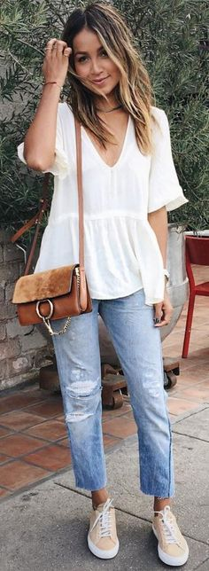 #sincerelyjules #spring #summer #besties  White Blouse + Camel Purse + Denim + Nude Sneakers