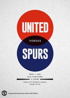 Match poster. Manchester United vs Tottenham Hotspur, 1 January 2014. Designed…