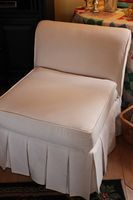 using finish factor drop cloth to make a slip cover.....DIY Tutorial Slipper Chair Slipcover, Slipper Chairs, Slipcovers For Chairs, Furniture Projects, Furniture Makeover, Diy Furniture, Reupholster Furniture, Upholstered Furniture, Do It Yourself Furniture