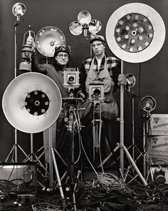 Link & Thom with Night Flash Equipment    photo by O. Winston Link, 1956