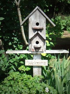 Love this birdhouse. Got scrap lumber? Make a birdhouse or a community of birdhouses; add some pavers and a bench. Who knows, maybe a hummingbird will land on your shoulder!