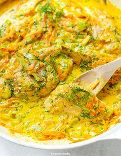 Kurczak w sosie koperkowym Meat Recipes, Chicken Recipes, Dinner Recipes, Cooking Recipes, Healthy Recipes, Polish Recipes, Fast Dinners, Snacks Für Party, I Love Food