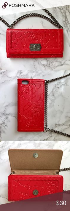 Wallet Style iPhone 6 iPhone 6s Case - RED ❤️ Designer Inspired. Wallet Style. Faux Leather. Magnetic Snap Closure. 3 Card Slots. Chain can be removed if desired. Brand New with Box 👍🏻 (I Accept Offers!) Accessories Phone Cases