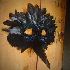 Beautiful 100% handmade raven mask made with felt, paint and feathers. Perfect for Moonrise Kingdom costume, Edgar Allen Poe, and just in general festive for Halloween and masquerade parties