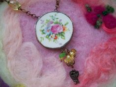 Rose Necklace Broken China Pink and Yellow by GratefulBeads, $33.00