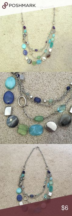 Long jeweled necklace Blue, green and gray jewels with silver chain Jewelry Necklaces