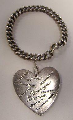 """RARE Vintage Walter Lampl Sterling Silver Large Charm """"I Love You"""" Bracelet"""