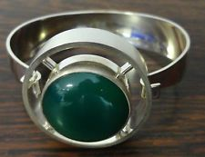 Rare Vintage Silver & Jade Bracelet / Bangle - N.E. From, Denmark - 1960's