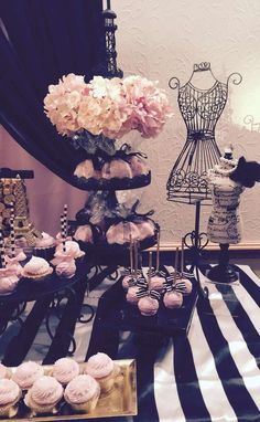 Pink and black Parisian Quinceañera party! See more party planning ideas at CatchMyParty.com!