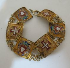 Antique Portuguese Gold Vermeil Spun Sterling Filigree Enamel Bracelet | eBay
