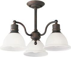 Madison Collection 3-Light Glass Shaded Antique Bronze Semi-Flush Mount Light #ProgressLighting #Classic