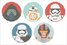 BOGO FREE! Star Wars Heroes Force Awakens characters Cross Stitch Pattern - pdf pattern instant download #97 by Rainbowstitchcross on Etsy