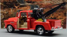 1:32 KINSMART 1955 CHEVY 3100 STEPSIDE TOW TRUCK (Orang) Perfect for Diorama use #Kinsmart #Chevrolet