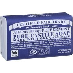 Dr. Bronner's Pure Castile Soap - Fair Trade And Organic - Bar - All One Hemp - Peppermint - 5 Oz