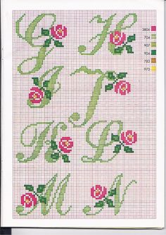 Alphabet cross stitch with roses Blackwork Embroidery, Embroidery Alphabet, Embroidery Fonts, Hand Embroidery Patterns, Cross Stitch Embroidery, Wedding Cross Stitch, Cross Stitch Rose, Cross Stitch Flowers, Cross Stitch Alphabet Patterns