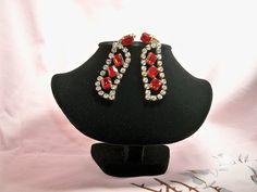 Vintage Czechoslovakia Red Rhinestone Dangling Earrings by BlackRain4, $39.99