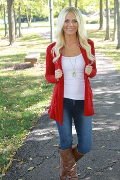 Magnolia Boutique Indianapolis - Basic Shawl Collar Cardigan-Red, $32.00 (http://www.indiefashionboutique.com/basic-shawl-collar-cardigan-red/)