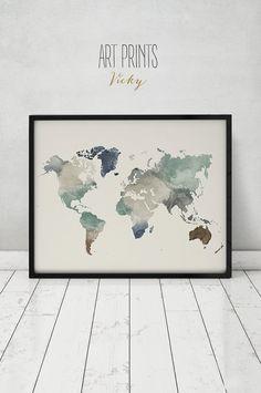 World map print watercolor travel Map Large by ArtPrintsVicky