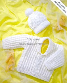 401) Baby/ Toddler/ Boys-Girls Adorable Jacket & Hat, Premature-4yrs, Vintage DK/ 8ply Knitting Pattern, Instant Download, PDF