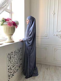 Plus size loose silver silk khimar muslim jilbab dress Mode Niqab, Mode Abaya, Modest Dresses, Modest Outfits, Church Dresses, Modest Clothing, Muslim Fashion, Modest Fashion, Hijab Fashion
