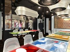 At Inamo, London's first-ever interactive restaurant, diners can place their orders from a menu projected on their tables User Centered Design, Kid Friendly Restaurants, Off White Walls, Interactive Display, Menu, Restaurant Concept, London Restaurants, Open Shelving, Fine Dining