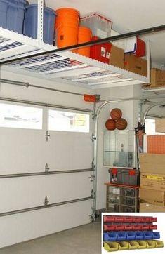 Garage Ceiling Storage, Garage Organization Tips, Garage Storage Shelves, Overhead Garage Storage, Garage Storage Solutions, Garage Shelf, Garage Workbench, Storage Hacks, Storage Ideas For Garage