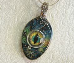 Steampunk Spoon Necklace, Evil Eye Necklace, 3-D Resin Pendant, Blue Fractal Background