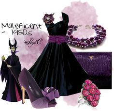 """""""Maleficent 1950s Outfit"""" by rubytyra on Polyvore..  Ok this is amazing"""