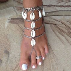 Vintage Multilayer Foot Jewelry Anklets for Women Sandalia Feminina Pulseira Beach Barefoot Sandals Shell Toe Rings Anklet Anklet Jewelry, Anklet Bracelet, Bracelets, Foot Bracelet, Stone Jewelry, Body Jewelry, Jóias Body Chains, Silver Anklets, Silver Earrings