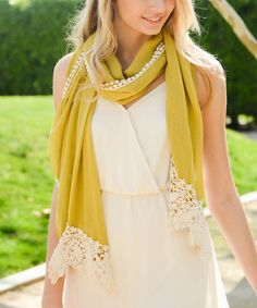Another great find on #zulily! Chartreuse Lace-Trim Scarf by Leto Collection #zulilyfinds