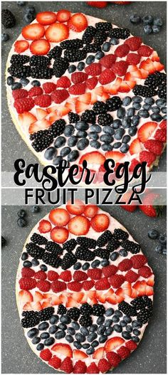 A sugar cookie base with a strawberry cream cheese frosting topped with fresh be. A sugar cookie base with a strawberry cream cheese frosting topped with fresh berries makes the perfect Easter Egg Fruit Pizza. Fun to decorate with the kids! Köstliche Desserts, Holiday Desserts, Holiday Baking, Holiday Recipes, Dessert Recipes, Brunch Recipes, Brunch Ideas, Brunch Menu, Recipes Dinner