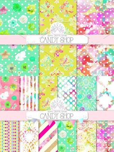 CANDY SHOP digital paper . Floral Background #candydigitalpaper #candyparty Damask Patterns, Pink Damask, Party Background, Bunting Banner, Candy Party, Candy Shop, Birthday Cards, Greeting Cards, Scrapbook
