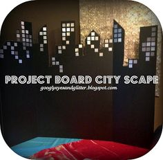 diy:  Googly Eyes & Glitter: Super Cheap Super Hero Party Decor: Cardboard City Scapes