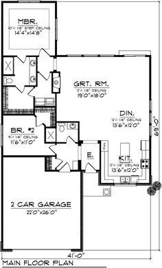 Ranch Style House Plan - 2 Beds 2 Baths 1540 Sq/Ft Plan #70-1025 - Houseplans.com