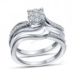 1.23 Carat Round White Diamond With Pave Setting In 925 Silver Bridal Ring Set #aonedesigns