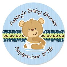Baby Boy Teddy Bear - Personalized Baby Shower Sticker Labels - 24 ct | BigDotOfHappiness.com
