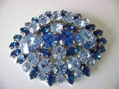 Large Blue Rhinestone Brooch, Signed Austria, vintage 50's, 2 3/4 inches wide on Etsy, €16,85