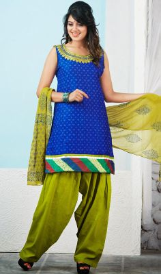 Deep Blue and Green Cotton Salwar Suit Look unique in the masses dressed up in this deep blue and green cotton salwar suit and look elegantly charming. Beautified with lace and mirror work. #DesignerPunjabiSuits #PatialaSalwarKameez