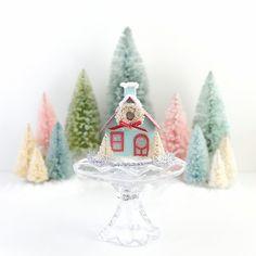 Putz House Ornament Christmas Cottage Glitter House Vintage Style Christmas Decoration