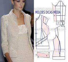 MOLDE CASACO COM BORDADO -22 - Moldes Moda por Medida