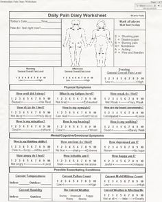 Chronic Fatigue Syndrome and Fibromyalgia Daily Diary Worksheet - Symptom Worksheets can so effective in helping to reduce pain and fatigue :)