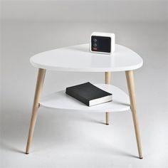 C moda vintage de madera de paulonia blanca an 100 cm for Table de chevet d angle