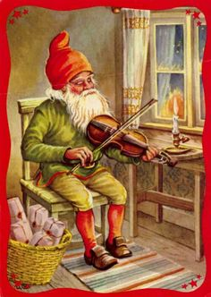Music sooths a weary soul. - Gnome - LC by toni Swedish Christmas, Christmas Gnome, Scandinavian Christmas, Vintage Christmas, David The Gnome, Baumgarten, Kobold, Legends And Myths, Elves And Fairies